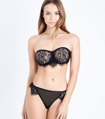 Black Lace Bandeau Bra New Look