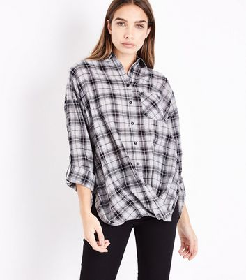 Grey Check Twist Hem Shirt New Look