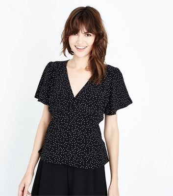 Black Spot Print Button Front Peplum Top New Look