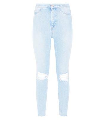 Pale Blue High Waist Ripped Knee Skinny Hallie Jeans New Look
