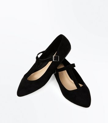Wide Fit Black Suedette T-Bar Pointed Pumps New Look