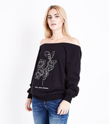 Black Floral Rhinestone Bardot Neck Sweatshirt New Look