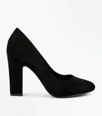 Wide Fit Black Suedette Block Heel Courts New Look