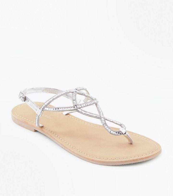 363c26de89733 Silver Leather Gem Twist Strap Sandals