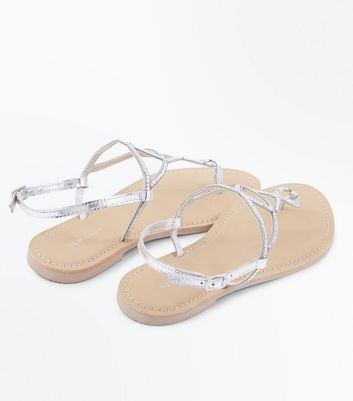 Silver Leather Gem Twist Strap Sandals New Look