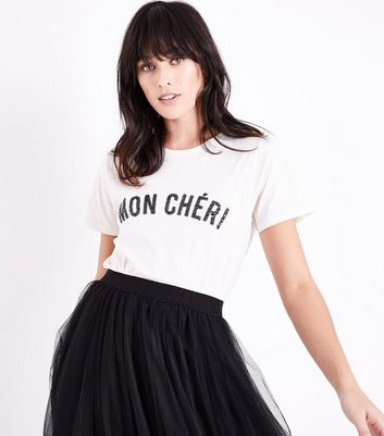 Cream Mon Cheri Sequin Slogan T-Shirt New Look