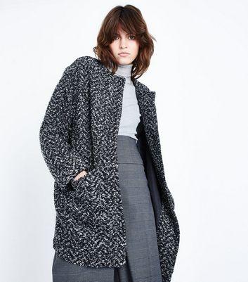 Black Boucle Cocoon Coat New Look