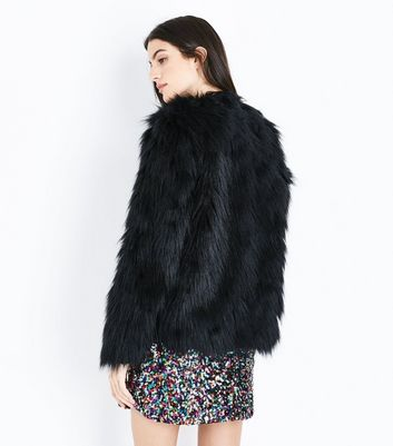 Black Collarless Fluffy Faux Fur Jacket New Look