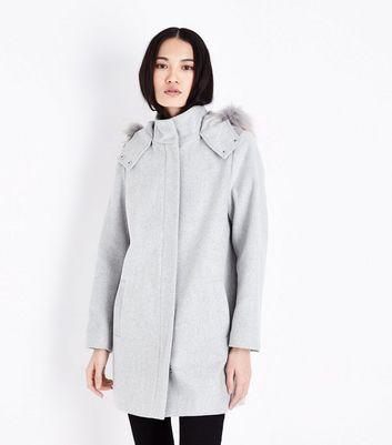 Pale Grey Faux Fur Trim Hooded Duffle Coat New Look