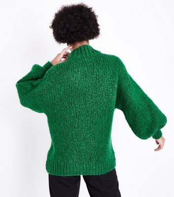 Green Funnel Neck Oversized Jumper New Look