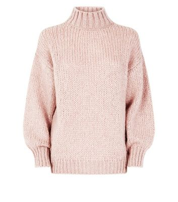 Shell Pink Funnel Neck Oversized Jumper New Look