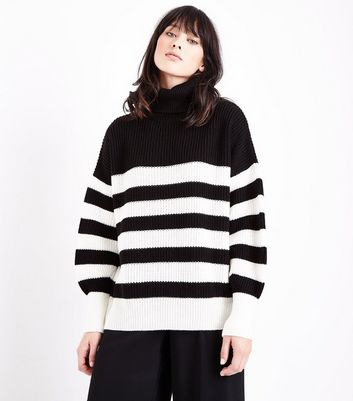 Black Stripe Chunky Roll Neck Jumper New Look