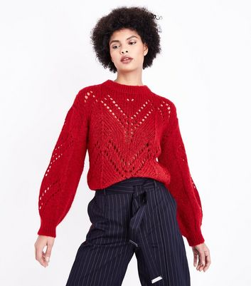 Red Balloon Sleeve Pointelle Jumper New Look