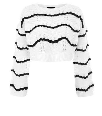 White Stripe Pointelle Knit Jumper New Look