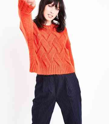 Red Cable Knit Cropped Jumper