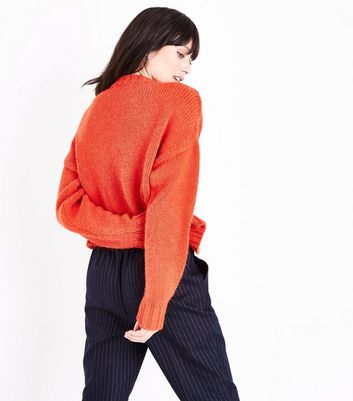 Red Cable Knit Cropped Jumper New Look