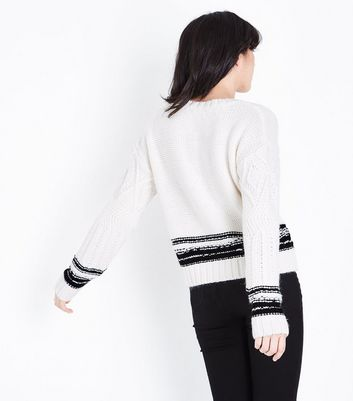 Cream Stripe Trim Cable Knit Jumper New Look