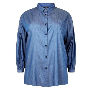 Curves Blue Balloon Sleeve Denim Shirt New Look