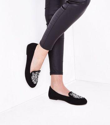 Black Suedette Gem Embellished Loafers New Look