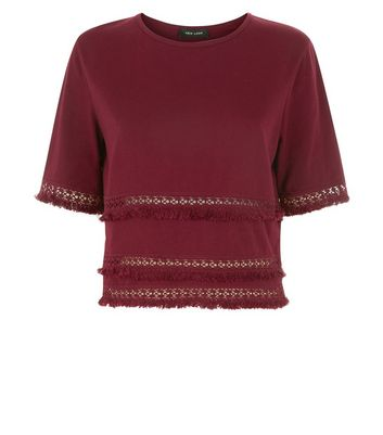 Burgundy Fringe Trim T-Shirt New Look