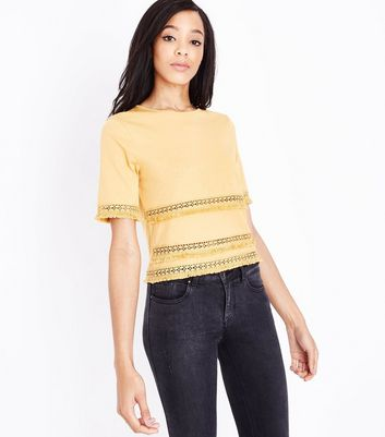 Mustard Yellow Fringe Trim T-Shirt New Look