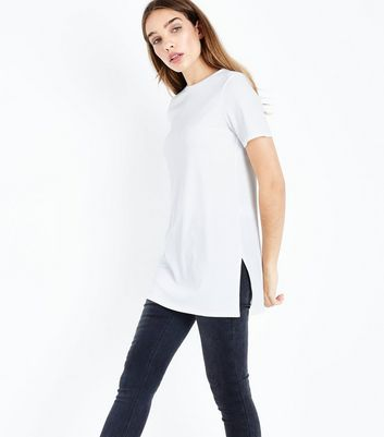 Cream Ribbed Tunic Top New Look