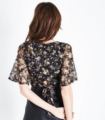 Black Floral Lace Angel Sleeve Crop Top New Look