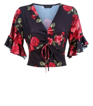 Black Floral Ruched Front Bell Sleeve Top New Look