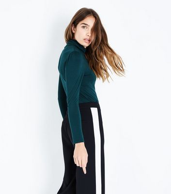 Dark Green Gathered Sleeve Roll Neck Top New Look