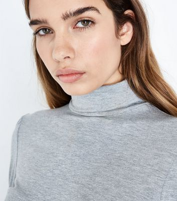 Grey Gathered Sleeve Roll Neck Top New Look
