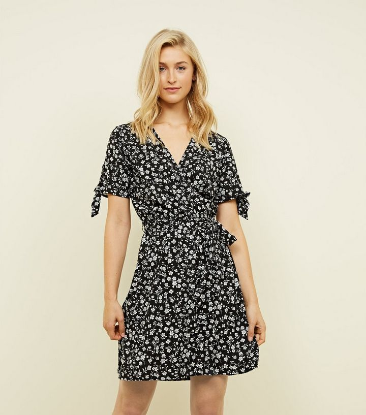 a0ef16466fae8 Black Ditsy Floral Print Wrap Dress | New Look