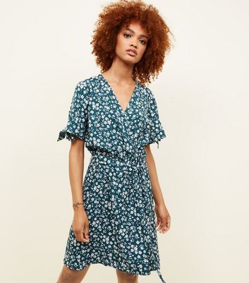 Green Floral Tie Sleeve Wrap Front Dress