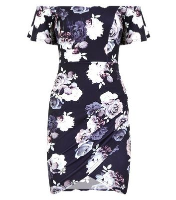 Black Floral Sweetheart Neck Ruched Scuba Dress New Look