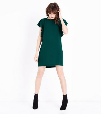 Dark Green Angel Sleeve Tunic Dress New Look