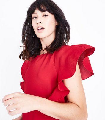 Dark Red Angel Sleeve Tunic Dress New Look