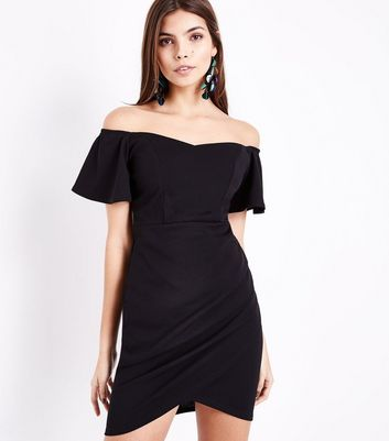 Black Ruched Front Sweetheart Neck Dress New Look