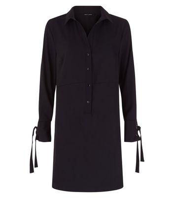 Black Eyelet Cuff Shirt Dress New Look