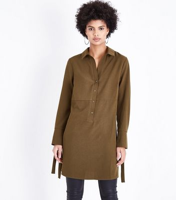 Khaki Eyelet Cuff Shirt Dress New Look