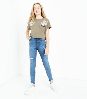 Teens Khaki Brooklyn Floral Puff Print T-Shirt New Look