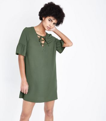 Khaki Eyelet Lace Up Bell Sleeve Tunic Dress New Look