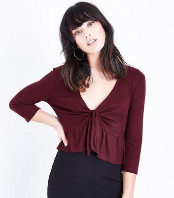Burgundy Tie Front Peplum Hem Top New Look