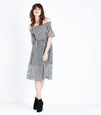 Black Stripe Shirred Bardot Neck Midi Dress New Look