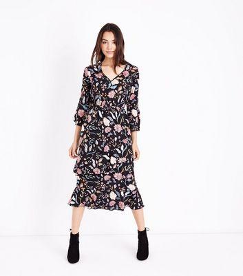 Black Floral Tiered Midi Dress New Look