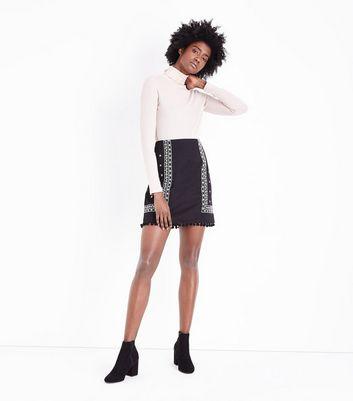 Tall Black Folk Embroidered Pom Pom Mini Skirt New Look