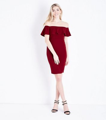 Burgundy Frill Bardot Neck Midi Dress New Look