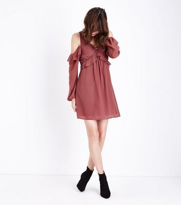 Burgundy Frill Trim Cold Shoulder Dress New Look