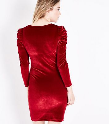 Red Velvet Ruched Sleeve Bodycon Dress New Look