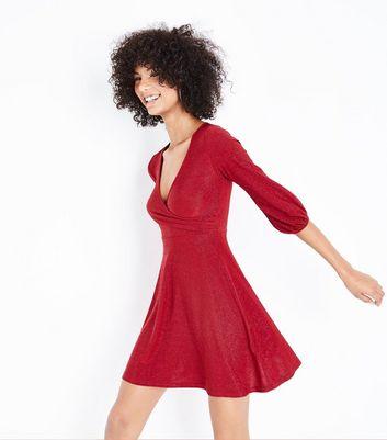 Red Glitter Wrap Front Midi Dress New Look
