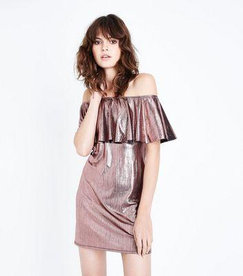 Pink Metallic Bardot Neck Dress New Look