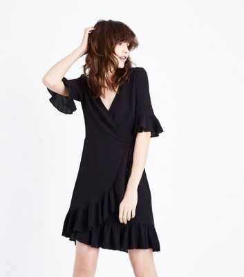 Tall Black Frill Trim Wrap Front Dress New Look